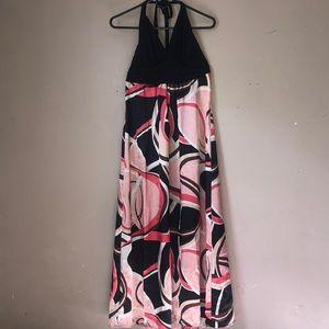 Cute Pink Geometic Womens Size 12 Maxi Dress